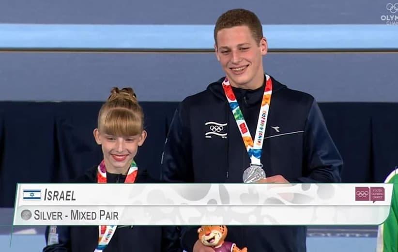 נעה קזדו קר ויונתן פרידמן - זוכי המקום השני באקרובטיקה באולימפיאדה לנוער. באדיבות מרכז הספורט בגין חולון