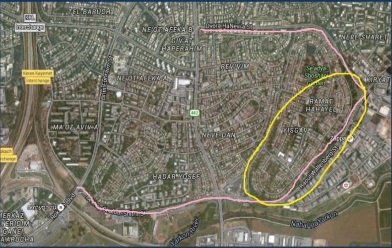 מפת שביל האופניים החדש בתל אביב